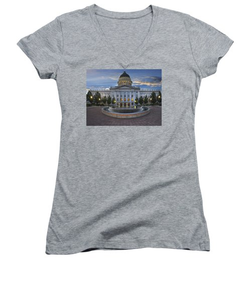 Utah State Capitol Building Women's V-Neck (Athletic Fit)