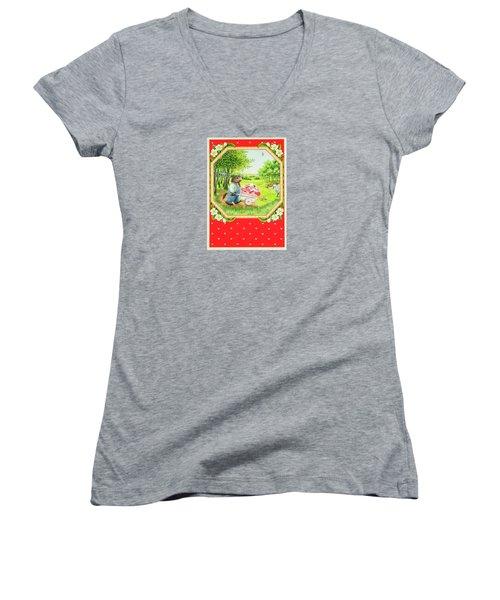 Valentine Delivery Women's V-Neck T-Shirt (Junior Cut)