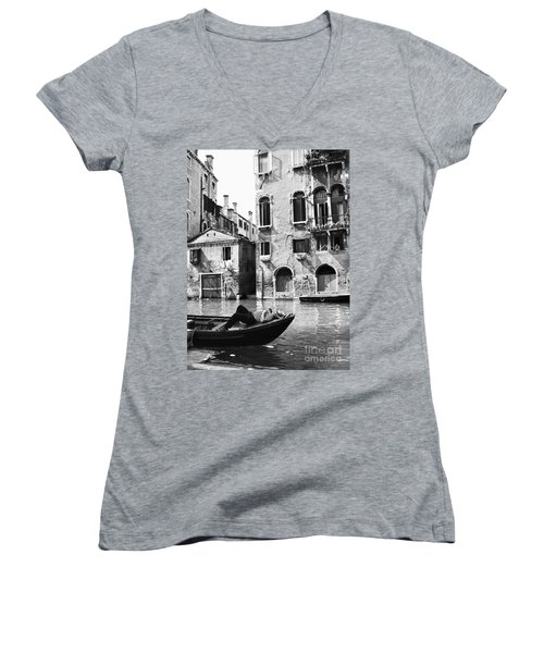 Women's V-Neck T-Shirt (Junior Cut) featuring the photograph Venice Canal, 1969 by Granger