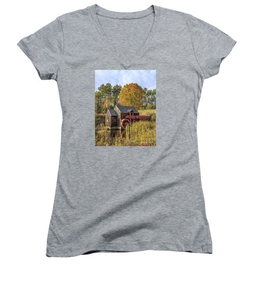 Women's V-Neck T-Shirt featuring the photograph Vermont Grist Mill by Edward Fielding