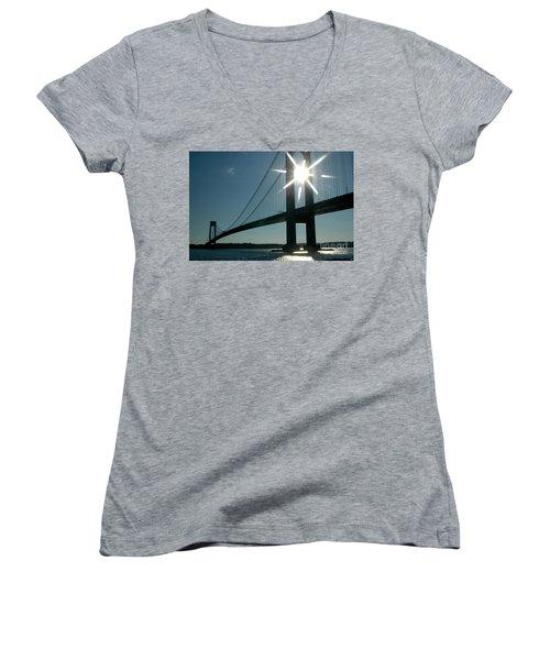 Verrazano Bridge Starburst Women's V-Neck (Athletic Fit)