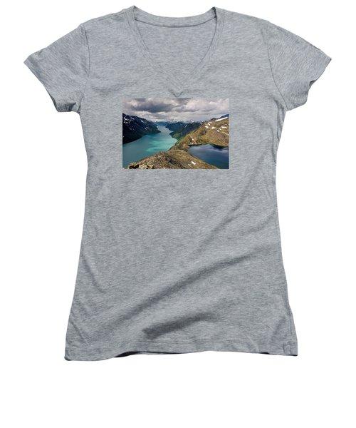 View From Bessegen Ridge Women's V-Neck T-Shirt (Junior Cut) by Aivar Mikko