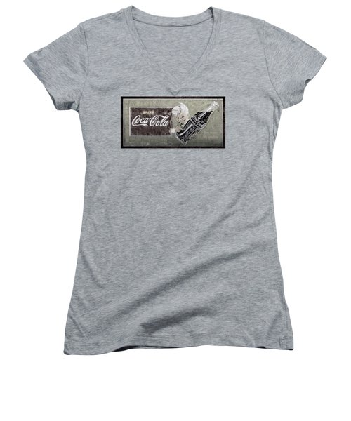 Women's V-Neck T-Shirt (Junior Cut) featuring the photograph Vintage 1916 Hand Painted Coca Cola Sign by John Stephens