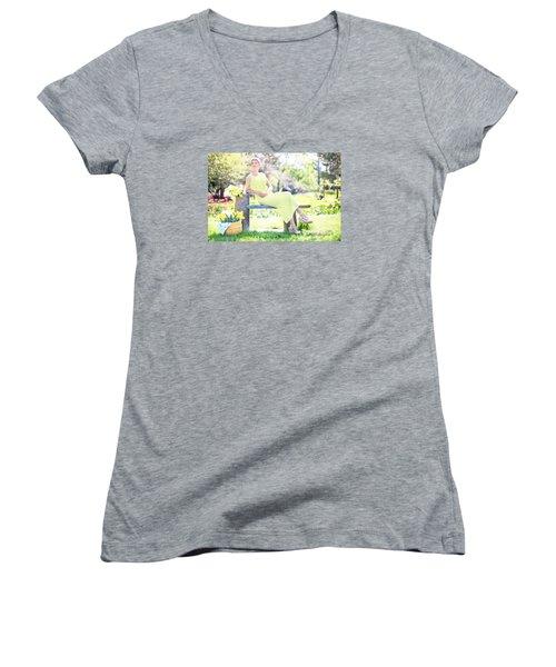 Vintage Val Spring Tulips Women's V-Neck T-Shirt (Junior Cut) by Jill Wellington