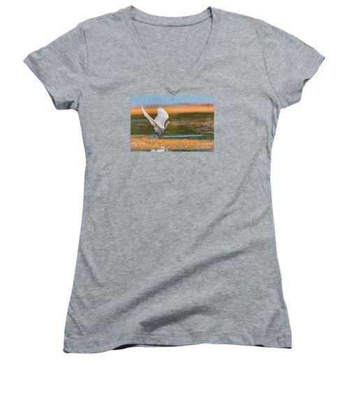 Women's V-Neck T-Shirt (Junior Cut) featuring the photograph Wading by Jivko Nakev