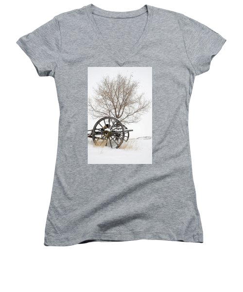 Wagon In The Snow Women's V-Neck