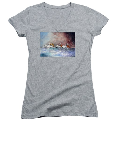 Waiting Out The Storm Women's V-Neck T-Shirt (Junior Cut) by Jimmy Smith