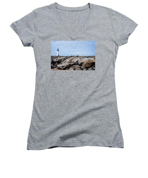Walton Lighthouse Women's V-Neck T-Shirt (Junior Cut) by James Hammond