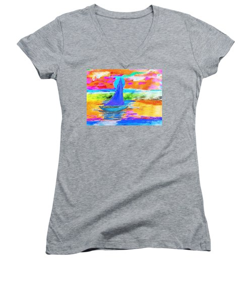 Watercolor Sailing Women's V-Neck T-Shirt