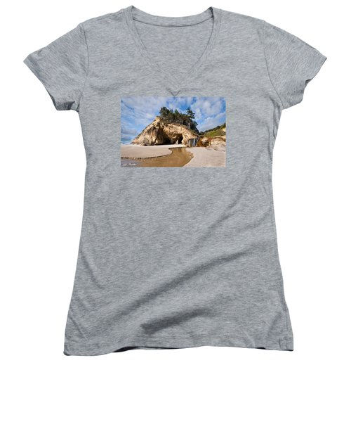 Waterfall Flowing Into The Pacific Ocean Women's V-Neck