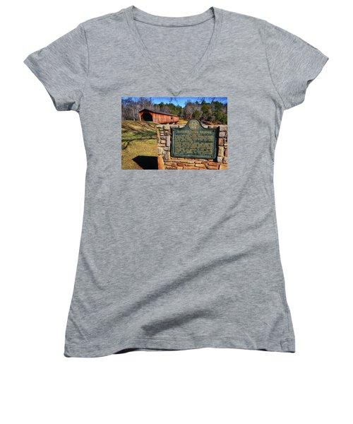 Watson Mill Covered Bridge 010 Women's V-Neck T-Shirt (Junior Cut) by George Bostian