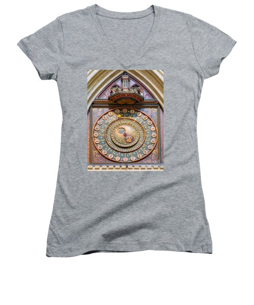 Women's V-Neck T-Shirt (Junior Cut) featuring the photograph Wells Cathedral Clock by Colin Rayner