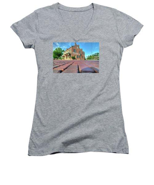 Western House Women's V-Neck T-Shirt (Junior Cut) by Steve Stuller