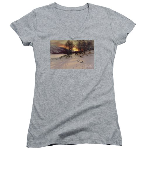 When The West With Evening Glows Women's V-Neck T-Shirt (Junior Cut) by Joseph Farquharson