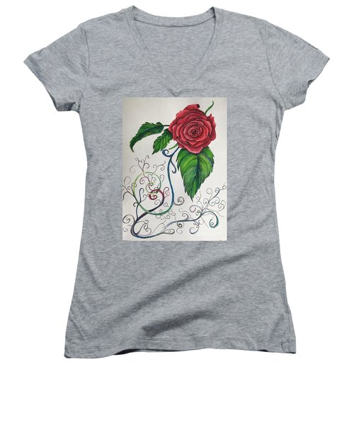 Whimsical Red Rose Women's V-Neck