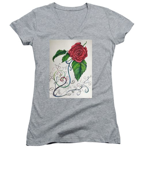 Whimsical Red Rose Women's V-Neck (Athletic Fit)