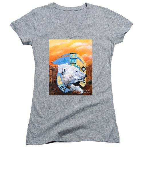 White Bear Goes Southwest Women's V-Neck T-Shirt (Junior Cut) by J W Baker