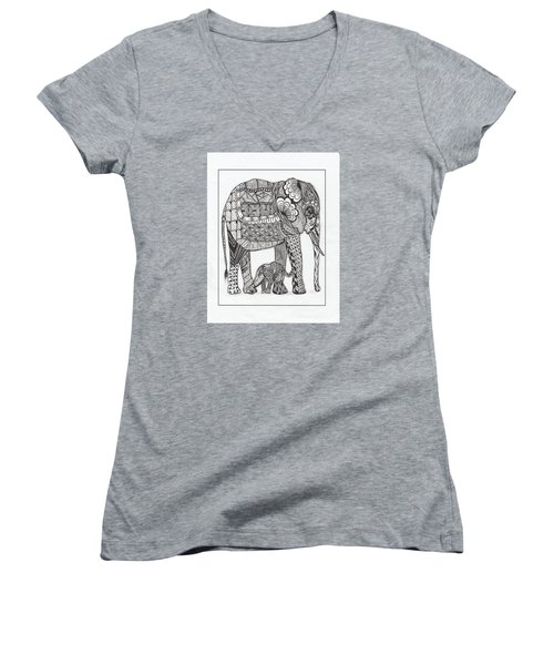 Women's V-Neck T-Shirt (Junior Cut) featuring the drawing White Elephant And Baby by Kathy Sheeran