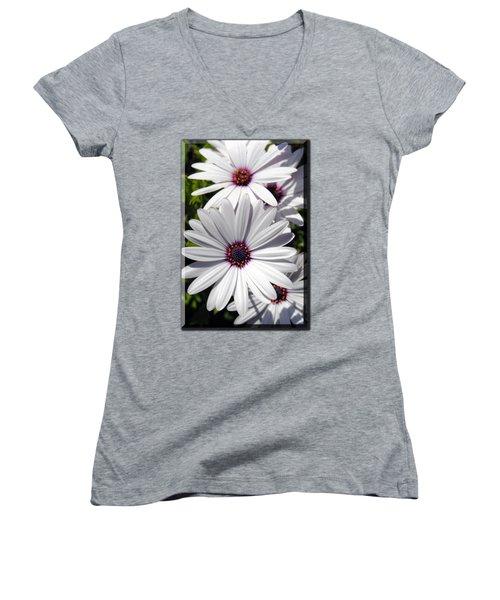 White Flower T-shirt Women's V-Neck (Athletic Fit)