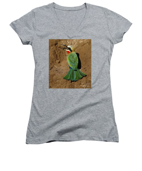 White Fronted Bee-eater Women's V-Neck (Athletic Fit)