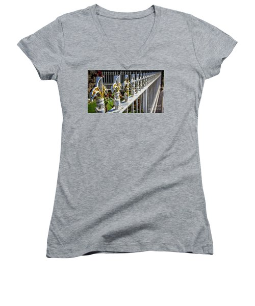 Women's V-Neck T-Shirt (Junior Cut) featuring the photograph White Iron by Perry Webster