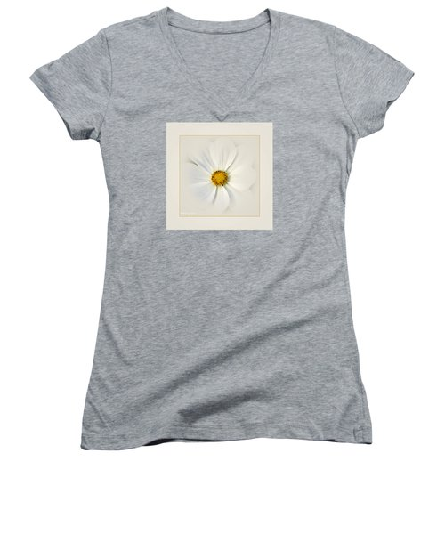 White On White Women's V-Neck (Athletic Fit)