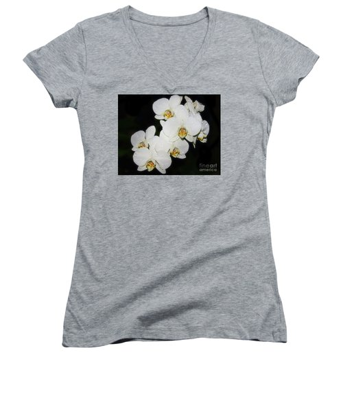Women's V-Neck T-Shirt (Junior Cut) featuring the photograph White Orchid by Elvira Ladocki