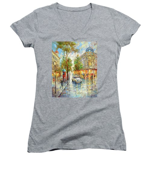 Women's V-Neck T-Shirt (Junior Cut) featuring the painting White Taxi by Dmitry Spiros