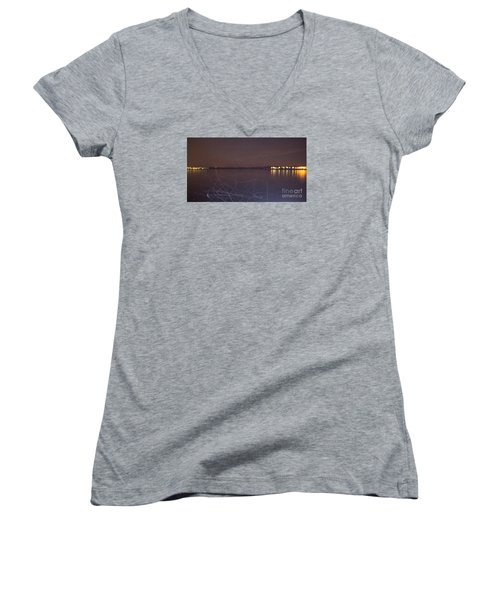 Women's V-Neck T-Shirt (Junior Cut) featuring the photograph Whoosh Of Mosquitoes In The Night by Odon Czintos