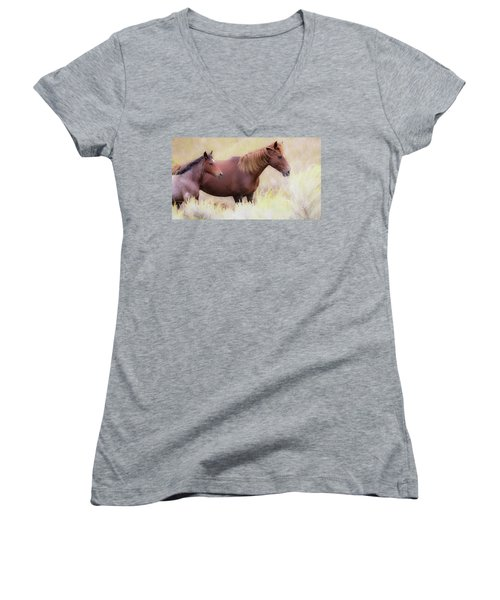 Women's V-Neck T-Shirt (Junior Cut) featuring the photograph Wild Horses  by Kelly Marquardt