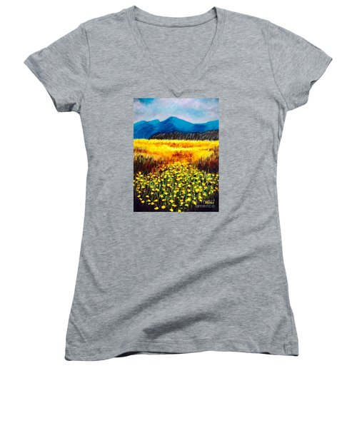 Wildflowers Women's V-Neck T-Shirt (Junior Cut)