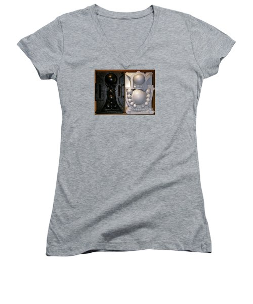 Women's V-Neck T-Shirt (Junior Cut) featuring the painting Willendorf Wedding by James Lanigan Thompson MFA