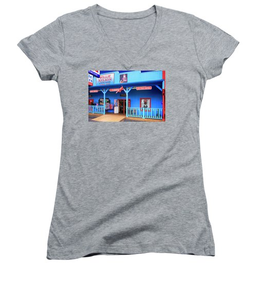 Willie Nelson And Friends Museum And Souvenir Store In Nashville, Tn, Usa Women's V-Neck (Athletic Fit)