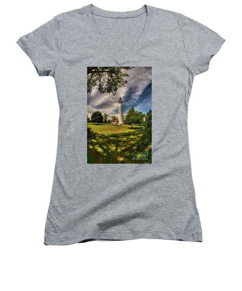 Wind Point Lighthouse Women's V-Neck T-Shirt (Junior Cut) by David Bearden