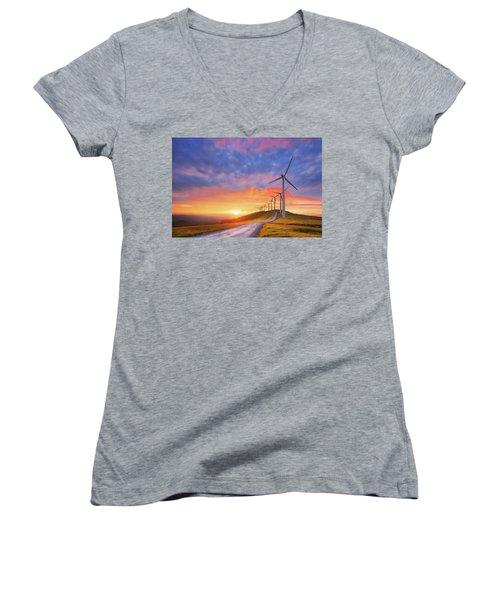 wind turbines in Oiz eolic park Women's V-Neck