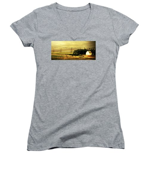 Women's V-Neck T-Shirt (Junior Cut) featuring the photograph Wind Turbines by Julie Hamilton