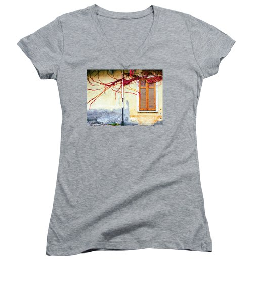 Women's V-Neck T-Shirt featuring the photograph Window And Red Vine by Silvia Ganora