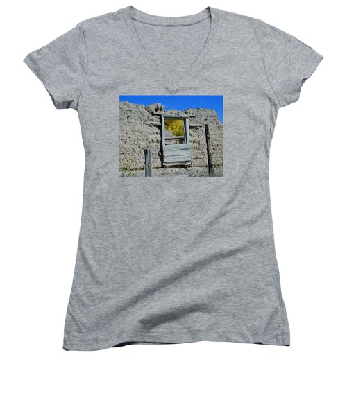 Women's V-Neck featuring the photograph Window In Autumn by Joseph R Luciano