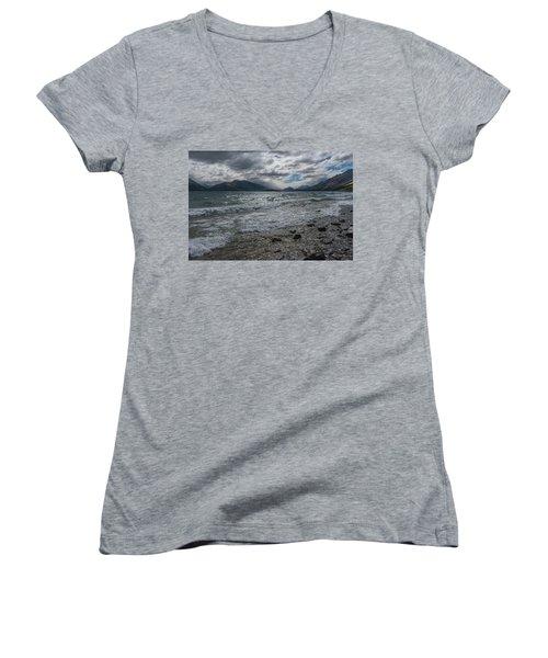 Women's V-Neck T-Shirt featuring the photograph Windy Day On Lake Wakatipu by Gary Eason