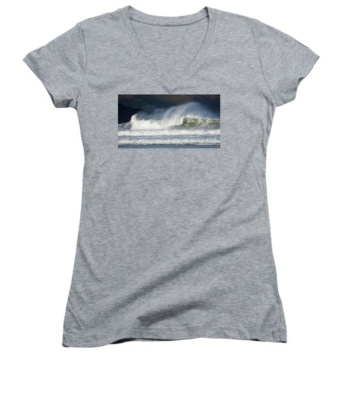 Windy Seas In Cornwall Women's V-Neck T-Shirt (Junior Cut) by Nicholas Burningham