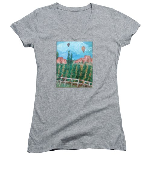 Wine Country Women's V-Neck T-Shirt (Junior Cut) by Roxy Rich