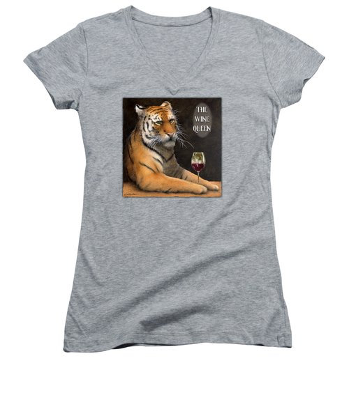 Women's V-Neck T-Shirt (Junior Cut) featuring the painting Wine Queen... by Will Bullas