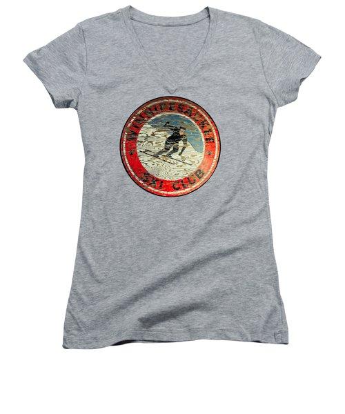 Winnipesaukee Ski Club Women's V-Neck T-Shirt (Junior Cut) by Mim White