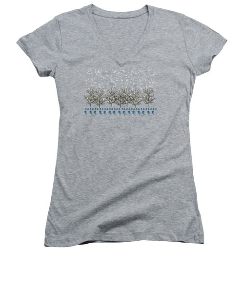 Winter Bluebirds In The Snow Women's V-Neck T-Shirt (Junior Cut) by Anne Kitzman
