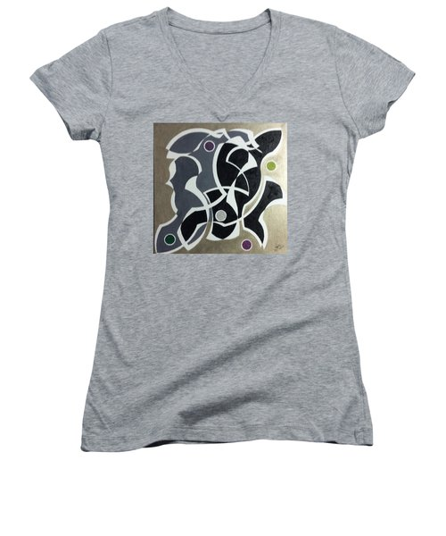 Women's V-Neck T-Shirt (Junior Cut) featuring the painting Winter by Hang Ho