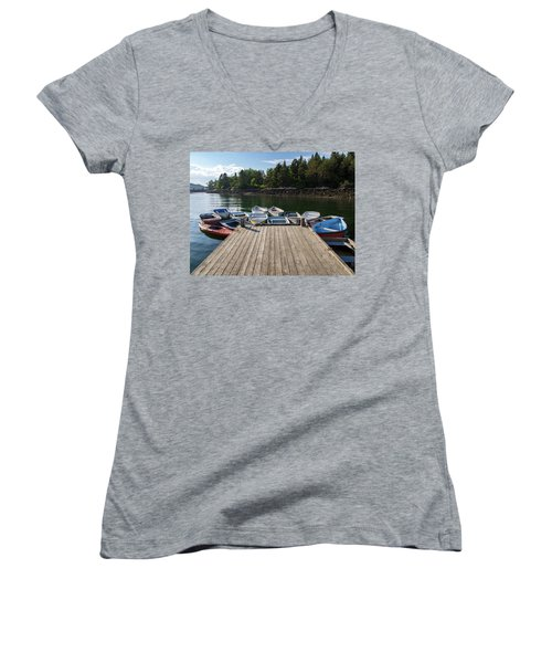 Women's V-Neck T-Shirt (Junior Cut) featuring the photograph Winter Harbor Maine  by Trace Kittrell