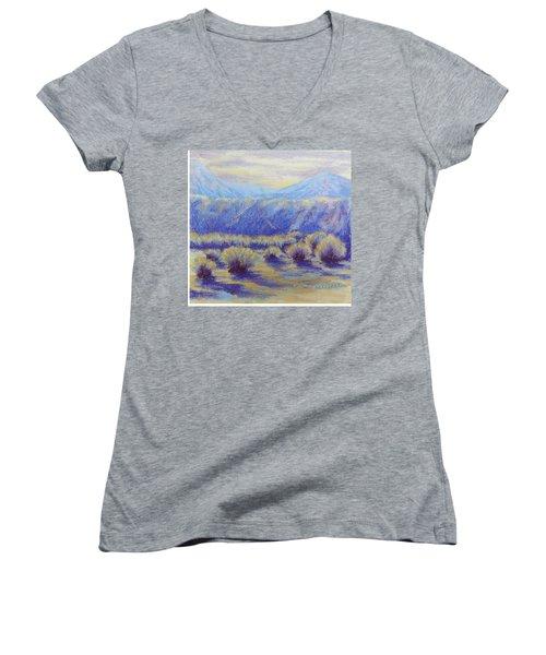 Winter Morning Riverbend Women's V-Neck T-Shirt (Junior Cut) by Becky Chappell