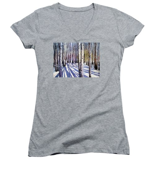Winter Shadows Women's V-Neck (Athletic Fit)