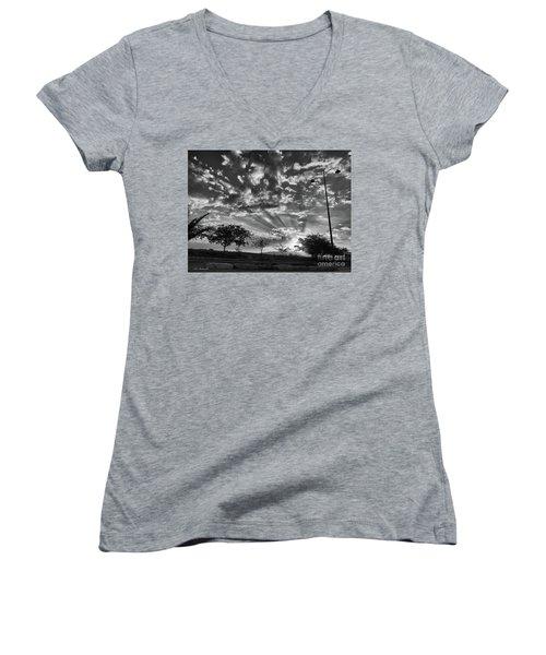 Winter Sunset Women's V-Neck T-Shirt (Junior Cut) by Arik Baltinester