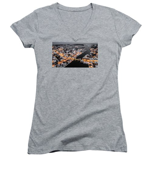 Women's V-Neck T-Shirt (Junior Cut) featuring the photograph Winter Twilight In Mystic Connecticut by Petr Hejl